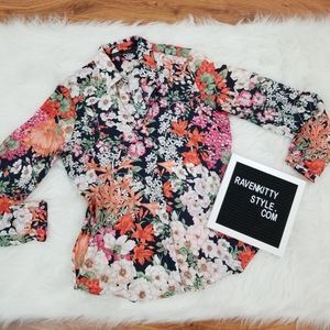 Zara Basic Black Orange Floral Button Down Blouse